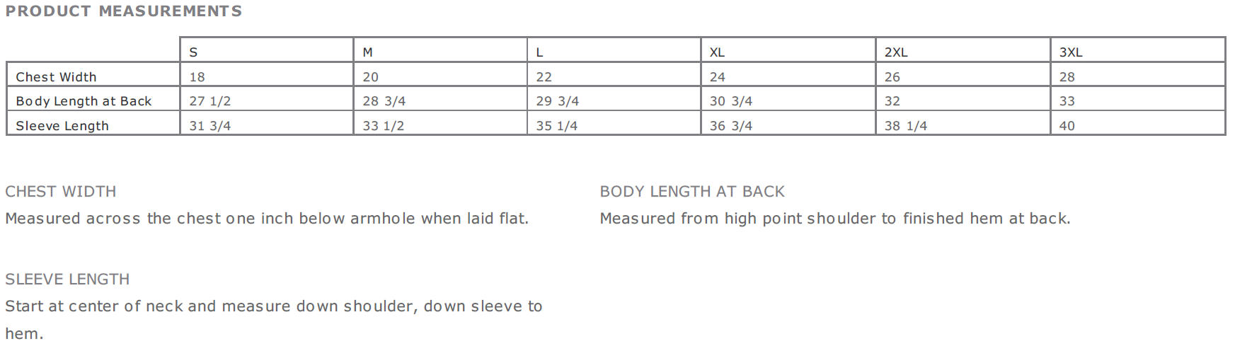 Size Chart for Shirts